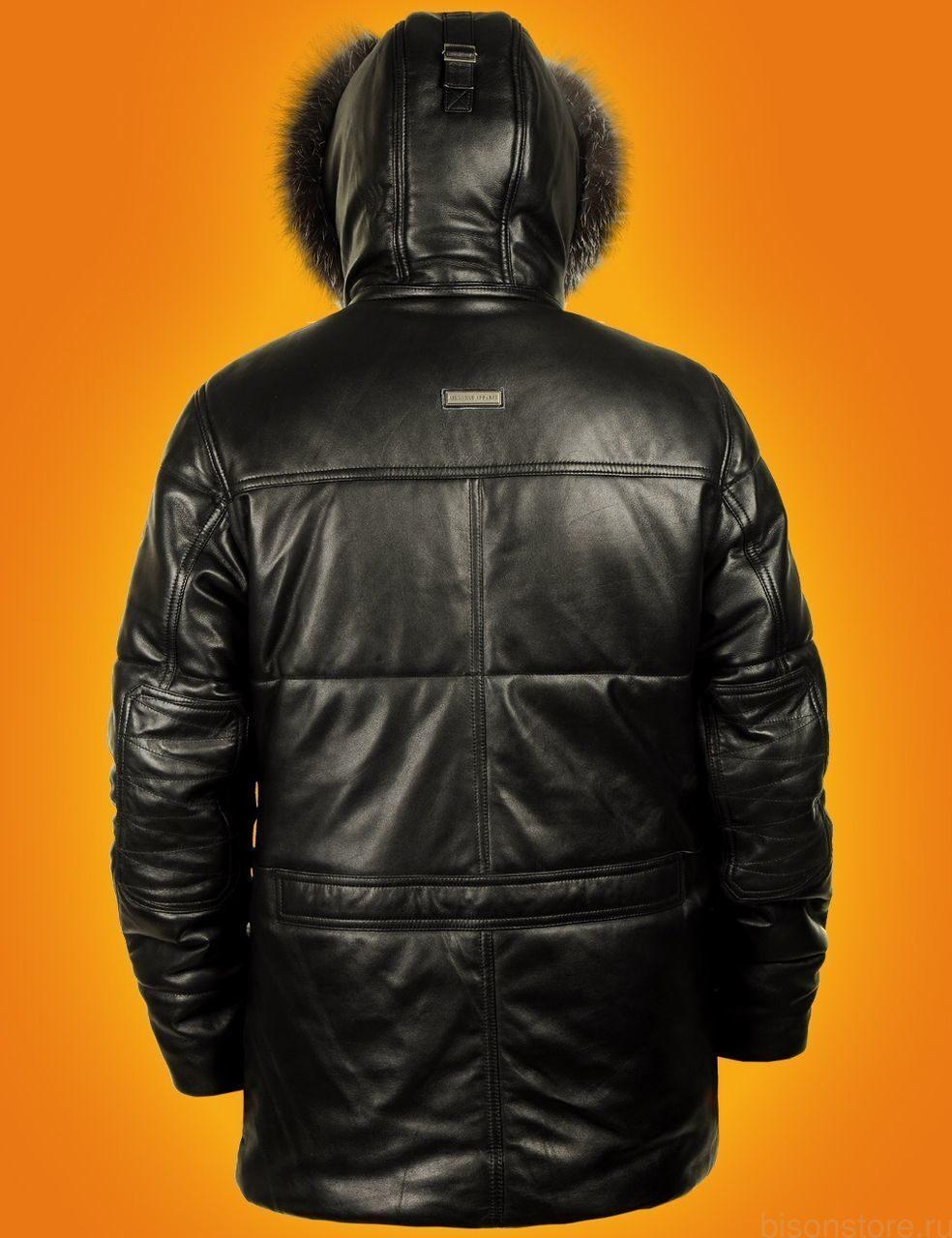 Купить мужской кожаный пуховик бу