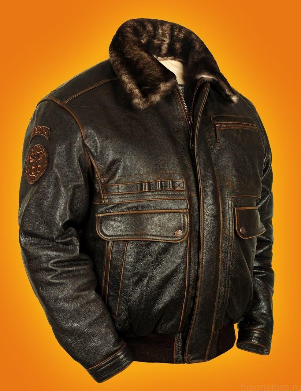 Зимняя кожаная летная куртка меховая
