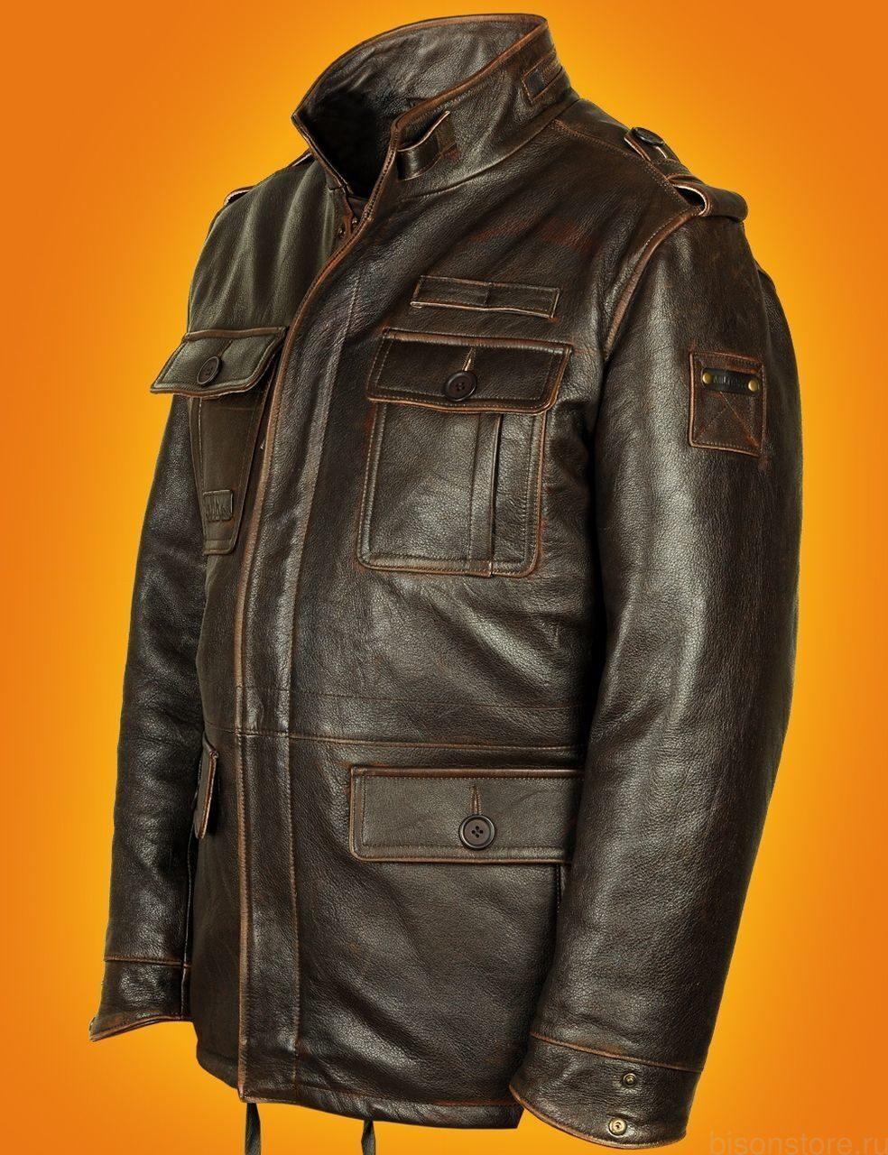 итальянские кожаные куртки мужские из кожи буйвол купить со скидкой