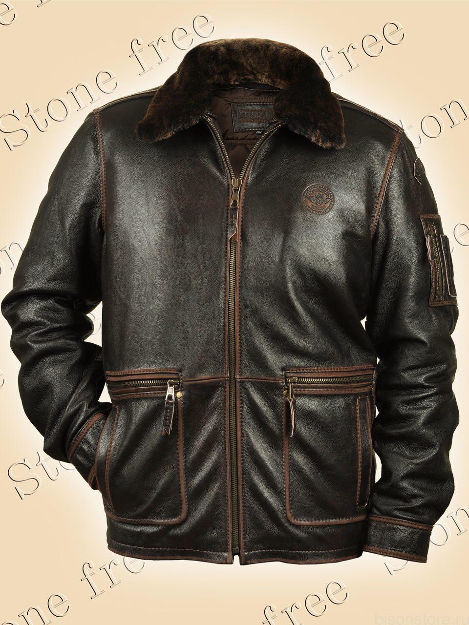 43a48e1c0c612 Зимняя кожаная куртка Patrol мужская из буйвола