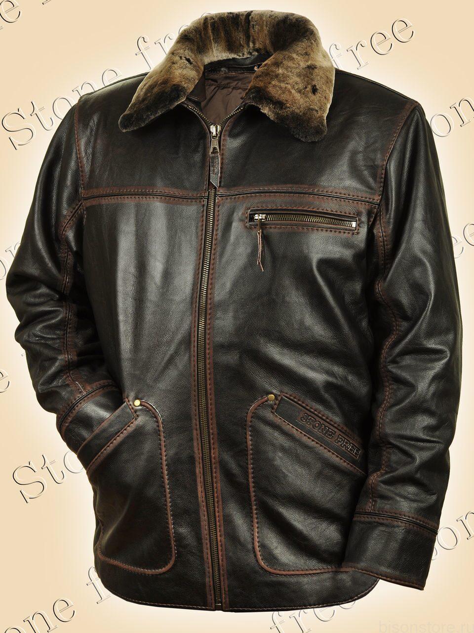 a052d997c18c5 Зимняя кожаная куртка Remix (brown) мужская