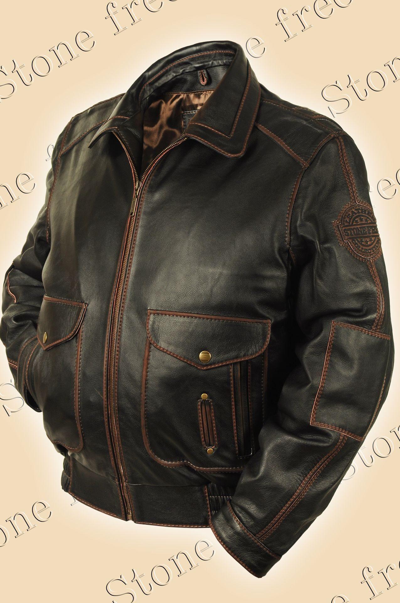 b8198e1b Куртка кожаная Пилот мужская из кожи буйвола Top gun 3